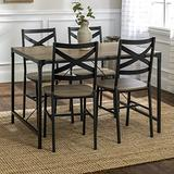 Walker Edison Industrial Modern Wood Rectangle Dining Room Table Set Kitchen Metal ChairsWood and Metal Armless Dining Chairs Kitchen Grey/Brown5 Piece