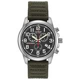 Citizen Eco-Drive GarrisonQuartz Mens Watch, Stainless Steel with Nylon strap, Field watch, Green (Model: AT0200-05E)