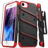 Apple iPhone 7 Bolt Heavy-Duty Rugged Case, Holster and Screen Combo, Black/Red For iPhone 7