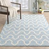 Erin Gates by Momeni Langdon Geometric Handmade Flatweave Wool Blue/White Area RugWool in Blue/Brown/White, Size 114.0 H x 90.0 W x 0.25 D in