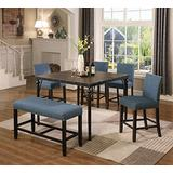 Roundhill Furniture Biony Counter Height 6-Piece Wood Dining Set with Chairs and Bench, Blue