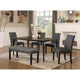 Roundhill Furniture Biony 6-Piece Wood Dining Set with Nailhead Chairs and Bench, Grey