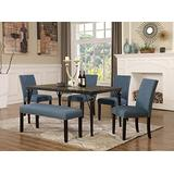Roundhill Furniture Biony 6-Piece Wood Dining Set with Nailhead Chairs and Bench, Blue