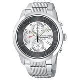 Seiko Men's SNAB15 Alarm Chronograph Silver-Tone Watch