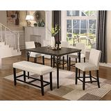 Roundhill Furniture Biony Counter Height 6-Piece Wood Dining Set with Chairs and Bench, Tan