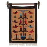 Wool tapestry, 'Brown Birds in Eden'