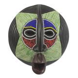 African beaded wood mask, 'Star Watcher'