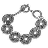 Sterling silver link bracelet, 'Jepun Coin'