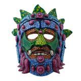 Papier mache mask, 'Colorful Huehueteotl'