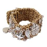 Gold accent Swarovski crystal wristband bracelet, 'Saint Benedict's Guidance'