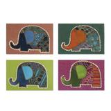 Cotton and paper greeting cards, 'Elephant Salutations' (set of 4)