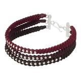 Silver beaded wristband bracelet, 'Tricolor Moons'