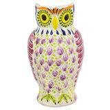 Majolica ceramic pitcher, 'Little Lilac Owl'