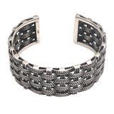 Sterling silver braided cuff, 'Kesatuan'