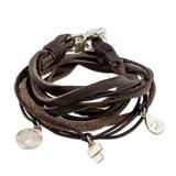 Fine silver and leather wrap bracelet, 'Stellar Divinity'