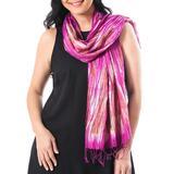 Tie-dyed silk scarf, 'Lovely Magic in Fuchsia'