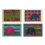 Cotton and paper greeting cards, 'Elephant Journeys' (set of 4)