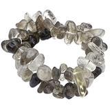 Smoky quartz and crystal stretch bracelets, 'Translucent Crystal' (pair)