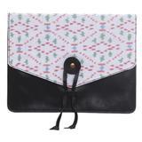 Cotton trim leather e-reader case, 'Plot Twist in Black'