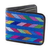 Cotton accent leather wallet, 'Colors of the Sea in Black'
