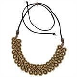 Gold plated golden grass pendant necklace, 'Winding Path'