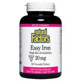 """""""Easy Iron 20 mg Chewable, 60 Tablets, Natural Factors"""""""