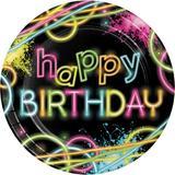 Creative Converting Glow Party Paper Plate Paper in Black/Pink/Yellow | Wayfair DTC318132DPLT