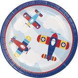 Creative Converting Toy Airplane Paper PlatePaper in Blue/White | Wayfair DTC331504DPLT
