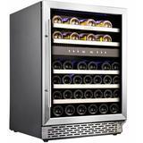 Phiestina 46 Bottle Dual Zone Built-in Wine Refrigerator in Black/Gray, Size 33.0 H x 22.4 W x 23.4 D in | Wayfair PH-46DB