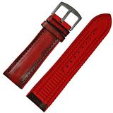 Breathable 24mm Handmade Maroon red Leather Red Rubber Watch Band Strap Buckle