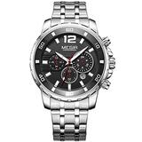 MEGIR Men's Stainless Steel Quartz Watches Fashion Chronograph Luminous Waterproof Wristwatch for Man Luxury Big Dial Watch Silver