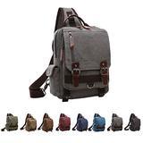 Queenie - Unisex Canvas Cross Body Messenger Bag Sling Bag Backpack Shoulder Bag Travel Rucksack For Men and Women (8596 Sling Bag Grey)