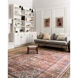 """Loloi Loren Collection Vintage Printed Persian Area Rug 1'-6"""" x 1'-6"""" Square Swatch Brick/Midnight"""