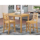 YACF3-OAK-W 3 Pc counter height pub set - counter height Table and 2 counter height Dining chair.