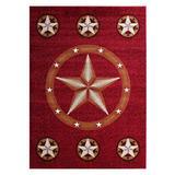 Champion Rugs Texas Star Western Burgundy Area Rug Design #CR85 (5 Feet X 7 Feet)