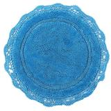 WARISI - Round Crochet Collection - Designer, Plush Cotton Rug (40 inches, Aqua Blue)