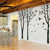 MairGwall Set of 3 Birch Trees with Flying Birds Wall Stickers - Beautiful Tree Wall Decal Vinyl Wall Art Decor for Nursery Kids Rooms Bedroom Living Room