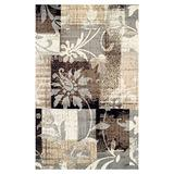Blue Nile Mills Modern Floral Indoor Area Rug Collection, Large Scrolling Floral and Patchwork Hallway Area Rug with Durable Jute Backing, 8' x 10', Chocolate
