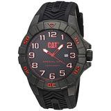 CAT Special OPS 1 Black/Red Men Watch, 45.5 mm case, Black face, Date Display, Carbon Fiber case, Black Silicone Strap, Black/Red dial (K2.121.21.118)(Black/Red)