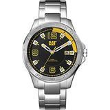 CAT Boston Silver/Black Men Watch, 42 mm case, Stainless Steel case, Stainless Steel Strap, Black/Yellow dial (AD.141.11.127) (Silver)