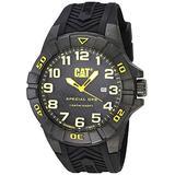 CAT Special OPS 1 Black Yellow Men Watch, 45.5 mm case, Black face, Date Display, Carbon Fiber case, Black Silicone Strap, Black/Yellow dial (K2.121.21.117) (Black/Yellow)