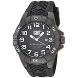 CAT Special OPS 1 Black Men Watch, 45.5 mm case, Black face, Date display, Carbon Fiber case, Black silicone strap, Black dial (K2.121.21.112)