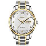 Men's Business Watch Swiss Automatic Machine Watches Date Luminous Roman Numerals Stainless Steel Watch (White)