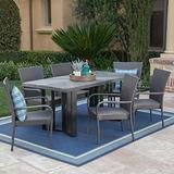 Christopher Knight Home Fiona Outdoor 7 Piece Grey Wicker Dining Set with Textured Grey Oak Finish Light Weight Concrete Dining Table