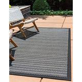 Unique Loom Outdoor Border Collection Striped Casual Transitional Indoor and Outdoor Flatweave Gray Area Rug (8' 0 x 11' 4)