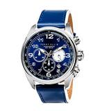 Perry Ellis GT Chronograph Quartz Watch with Date Luminous Watch with Date Genuine Leather Band Waterproof Blue Dial Men Watch 01003-01