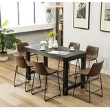 Roundhill Furniture 7 Piece Lotusville Counter Height Dining Set, Vintage Brown