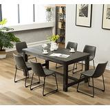 Roundhill Furniture 7 Piece Lotusville Wood Dining Table, Vintage Gray