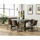 Roundhill Furniture 7 Piece Lotusville Wood Dining Table With Chairs Set, Vintage Brown