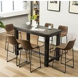 Roundhill Furniture Lotusville 7-Piece Set with Faux Leather Bar Stools, Vintage Brown